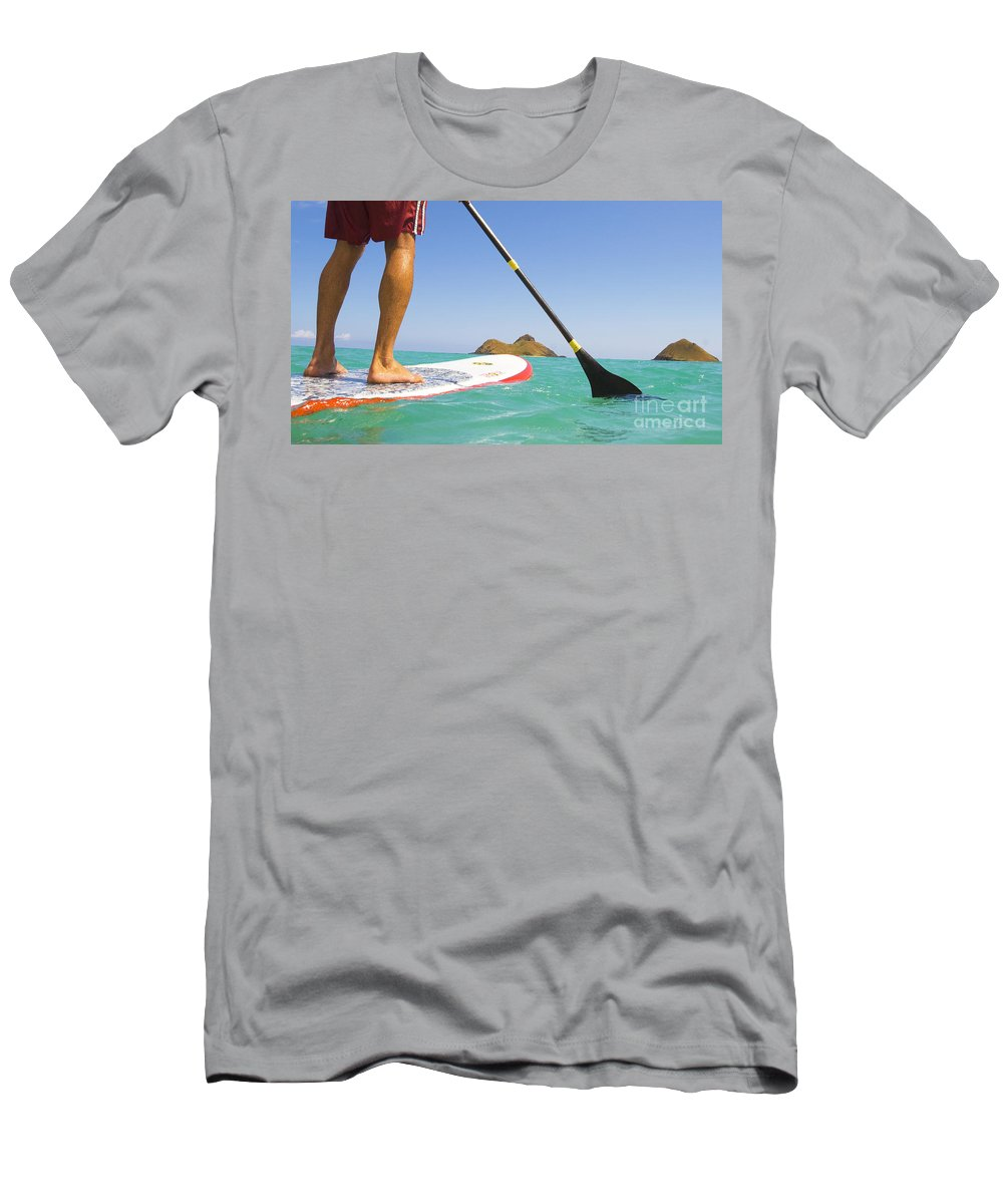 Adrenaline Men's T-Shirt (Athletic Fit) featuring the photograph Stand Up Paddling by Dana Edmunds - Printscapes