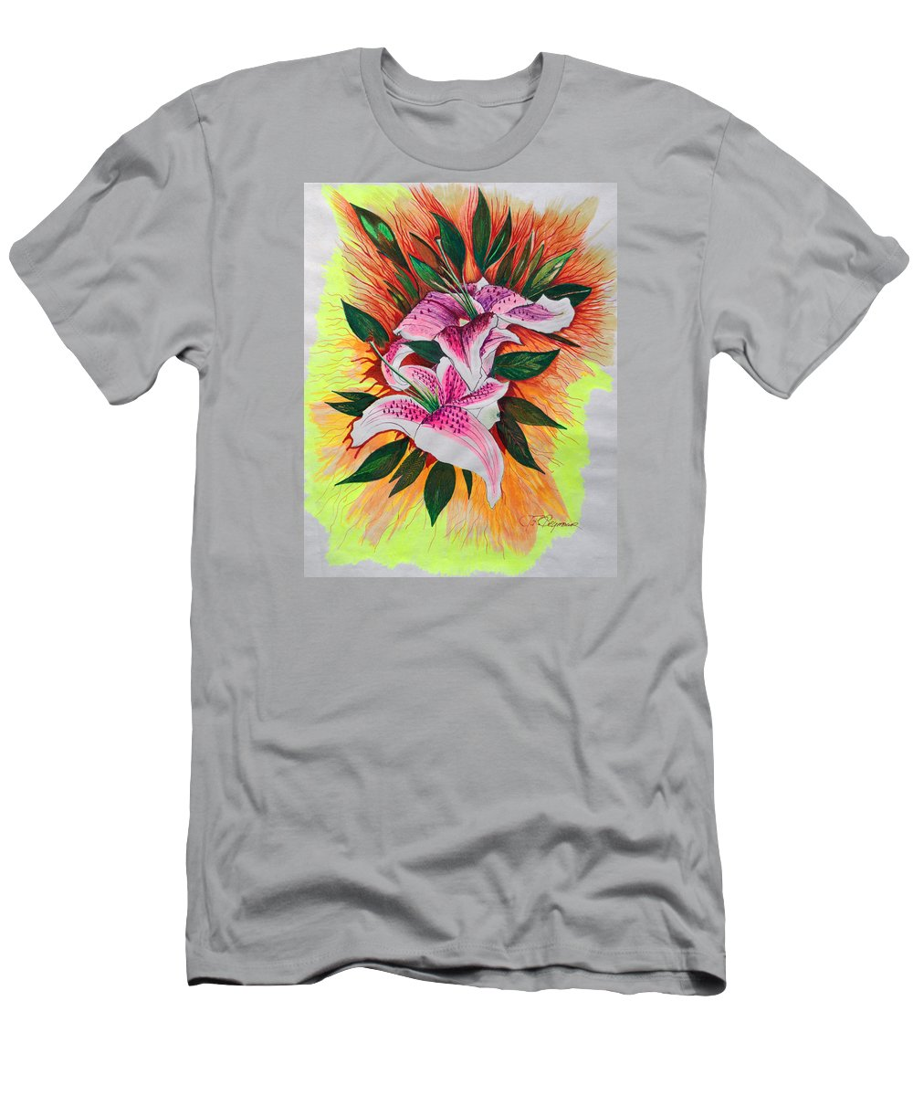 Flowers Men's T-Shirt (Athletic Fit) featuring the drawing Stargazers by J R Seymour