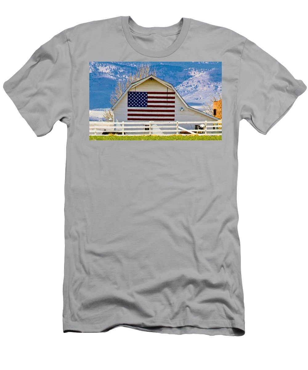 Barn Men's T-Shirt (Athletic Fit) featuring the photograph Stars Stripes And Barns by Marilyn Hunt