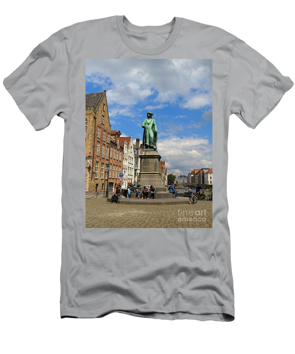 Statue Men's T-Shirt (Athletic Fit) featuring the photograph Statue Of Jan Van Eyck Beside The Spieglerei Canal In Bruges by Louise Heusinkveld
