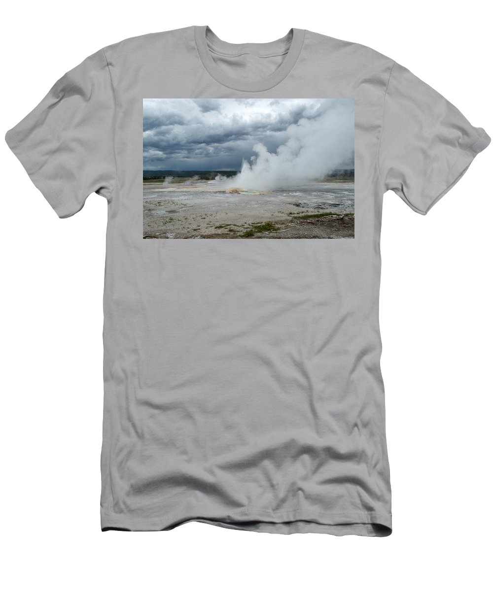 Geyser Men's T-Shirt (Athletic Fit) featuring the photograph Steam Rising by Linda Kerkau