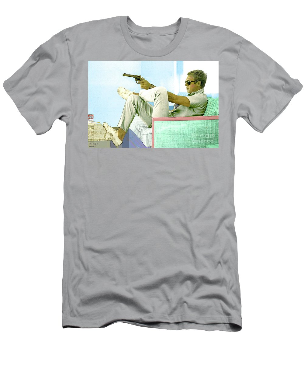 Steve Mcqueen T-Shirt featuring the mixed media Steve Mcqueen, Colt Revolver, Palm Springs, Ca by Thomas Pollart