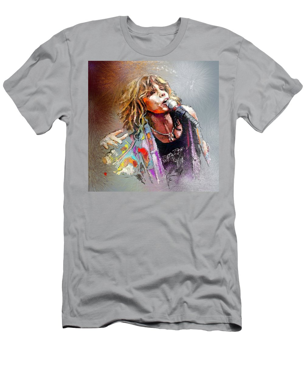 Musicians Men's T-Shirt (Athletic Fit) featuring the painting Steven Tyler 02 Aerosmith by Miki De Goodaboom