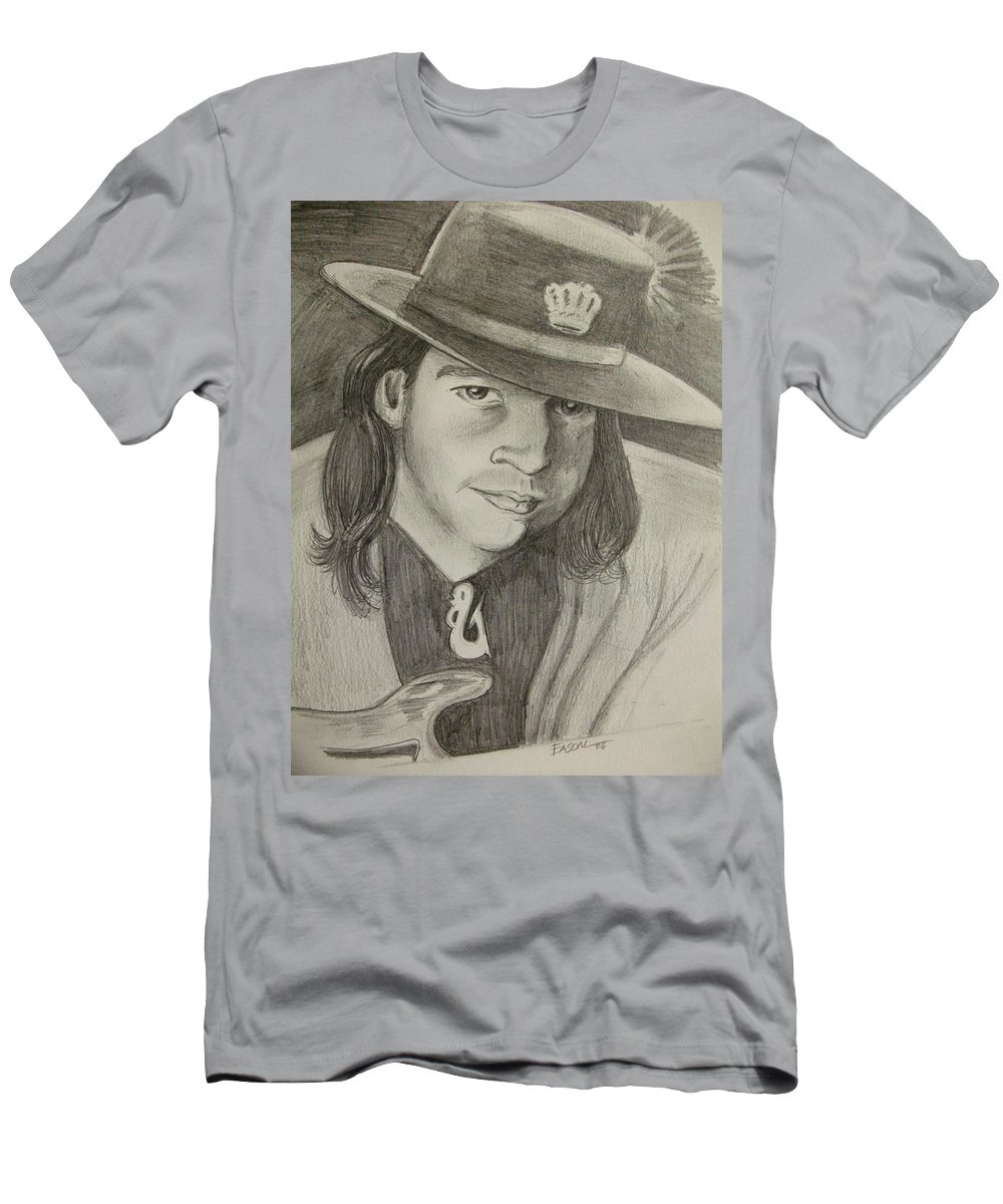 Srv Men's T-Shirt (Athletic Fit) featuring the drawing stevie ray Vaughan by Scott Easom