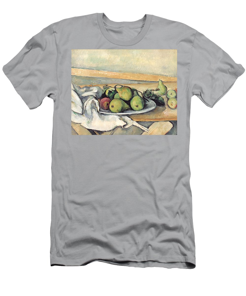 Still Men's T-Shirt (Athletic Fit) featuring the painting Still Life With Pears by Paul Cezanne