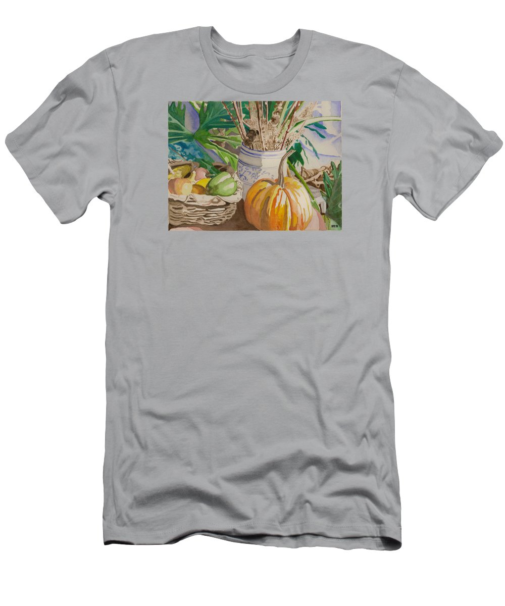 Still Life Men's T-Shirt (Athletic Fit) featuring the painting Still Life With Pumpkin by Lois Boyce