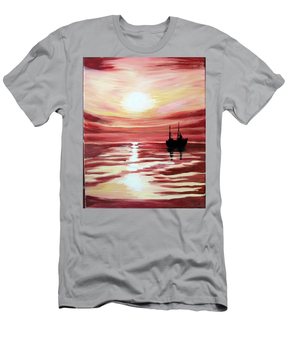 Seascape Men's T-Shirt (Athletic Fit) featuring the painting Still Waters Run Deep by Marco Morales
