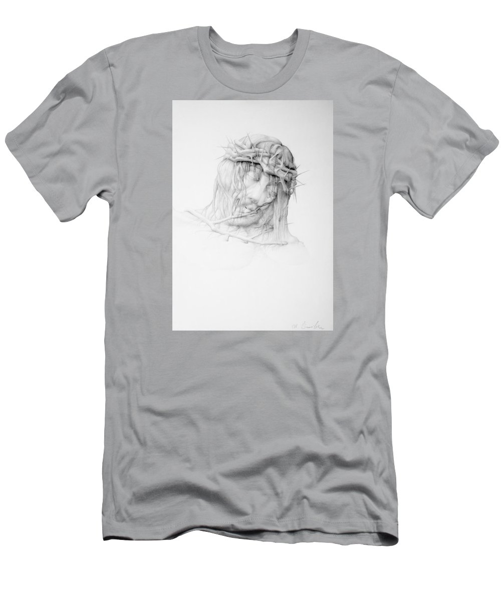 Pain Men's T-Shirt (Athletic Fit) featuring the drawing Stillness.christ by Mirko Sevic