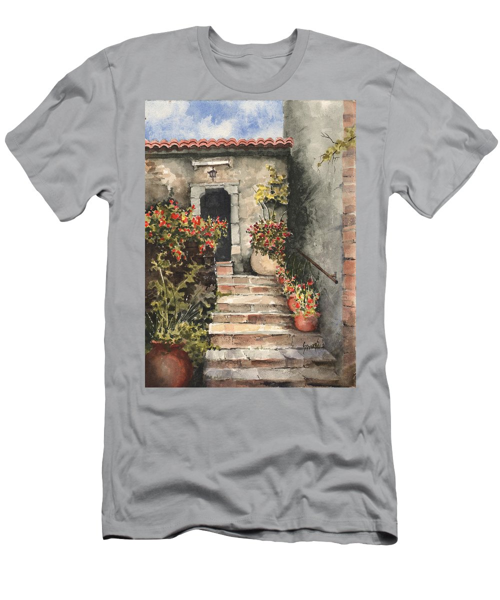 Steps Men's T-Shirt (Athletic Fit) featuring the painting Stone Steps by Sam Sidders