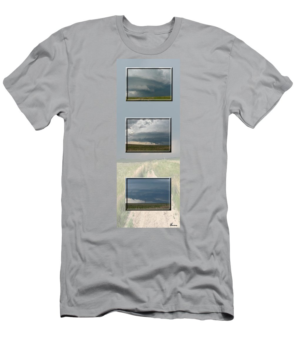 Tornado Strom Weather Rain Thunder Clouds Wind Men's T-Shirt (Athletic Fit) featuring the photograph Storm Collection by Andrea Lawrence