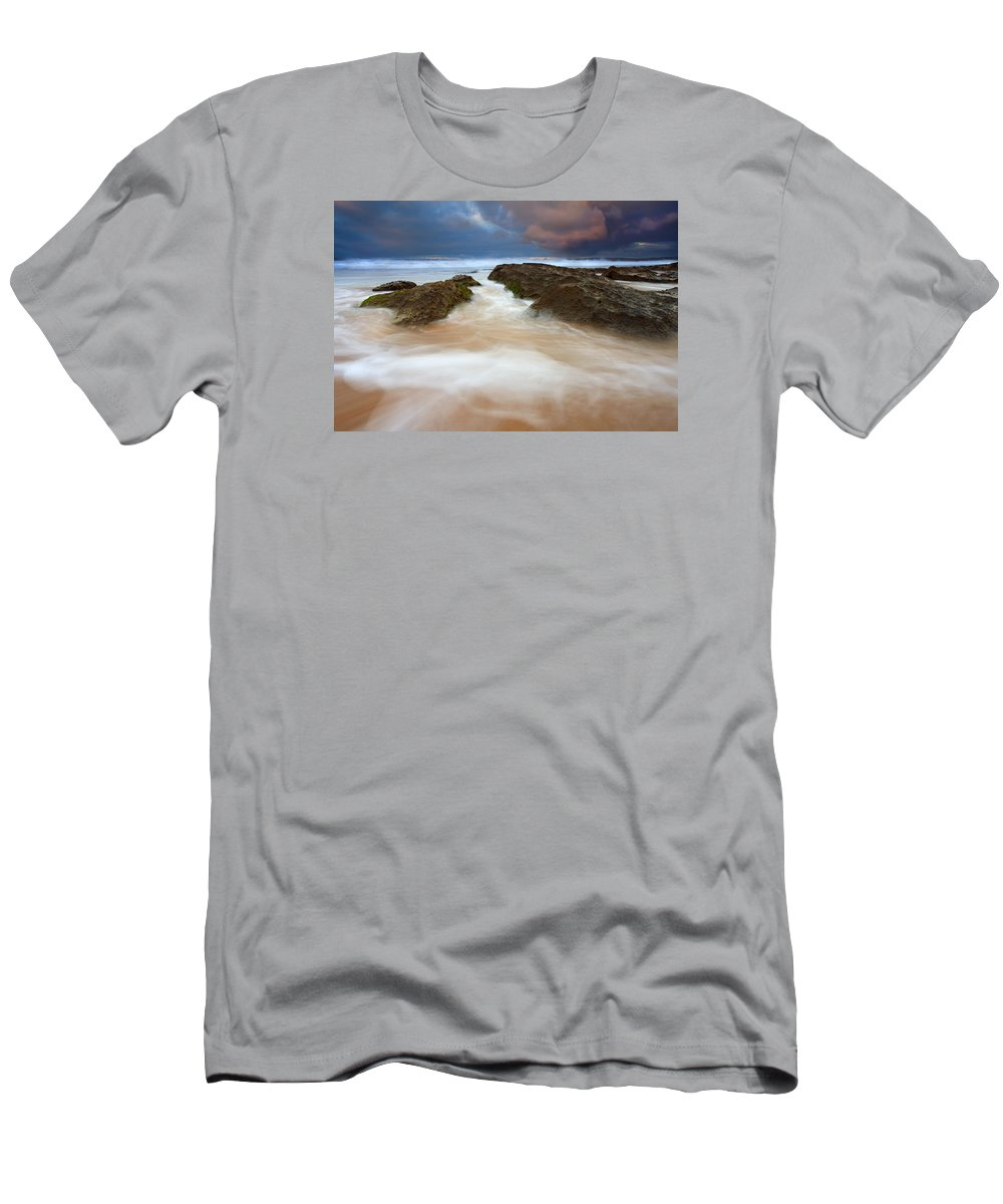 Seascape Men's T-Shirt (Athletic Fit) featuring the photograph Storm Shadow by Mike Dawson