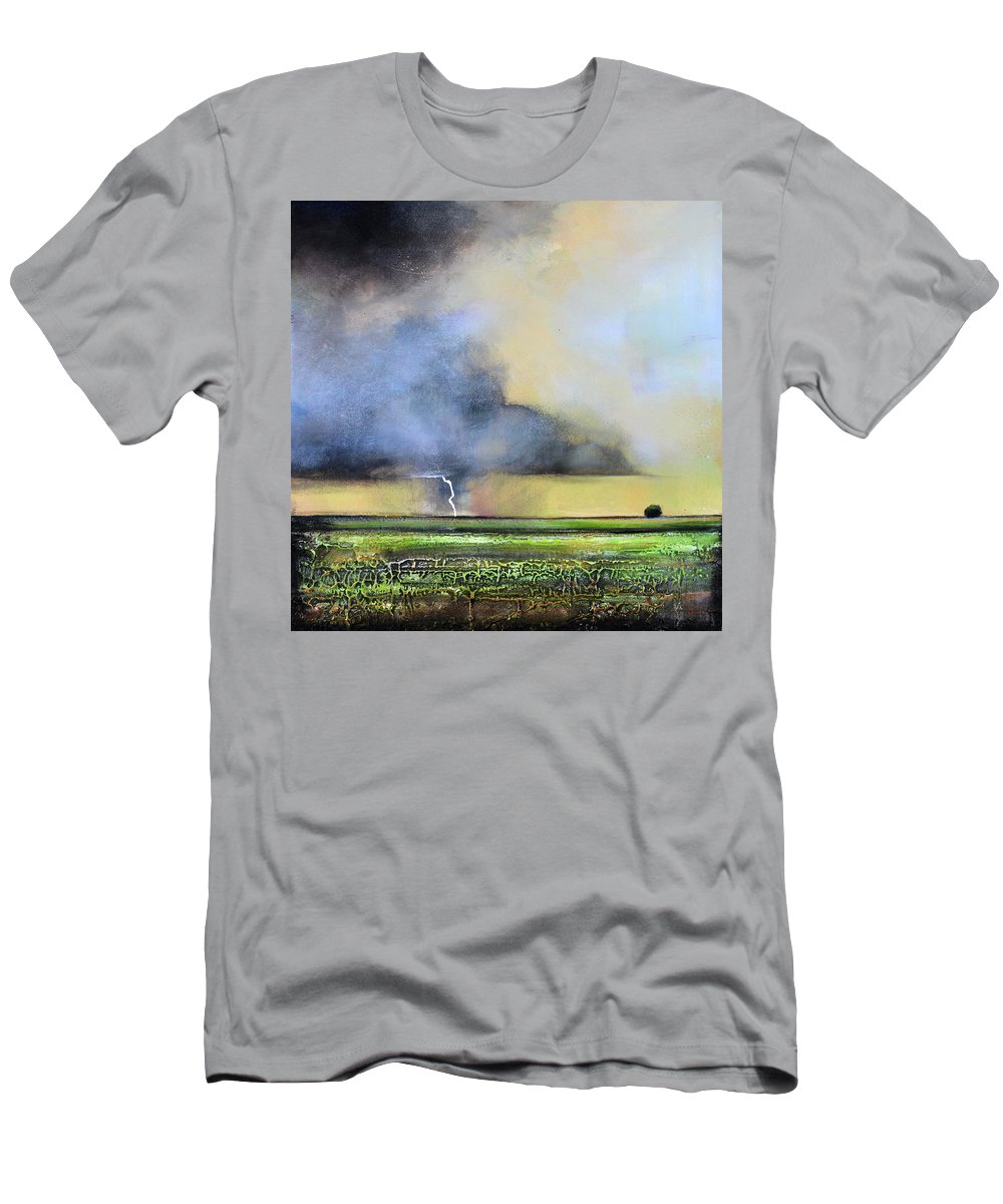 Storm Men's T-Shirt (Athletic Fit) featuring the painting Stormy Field by Toni Grote
