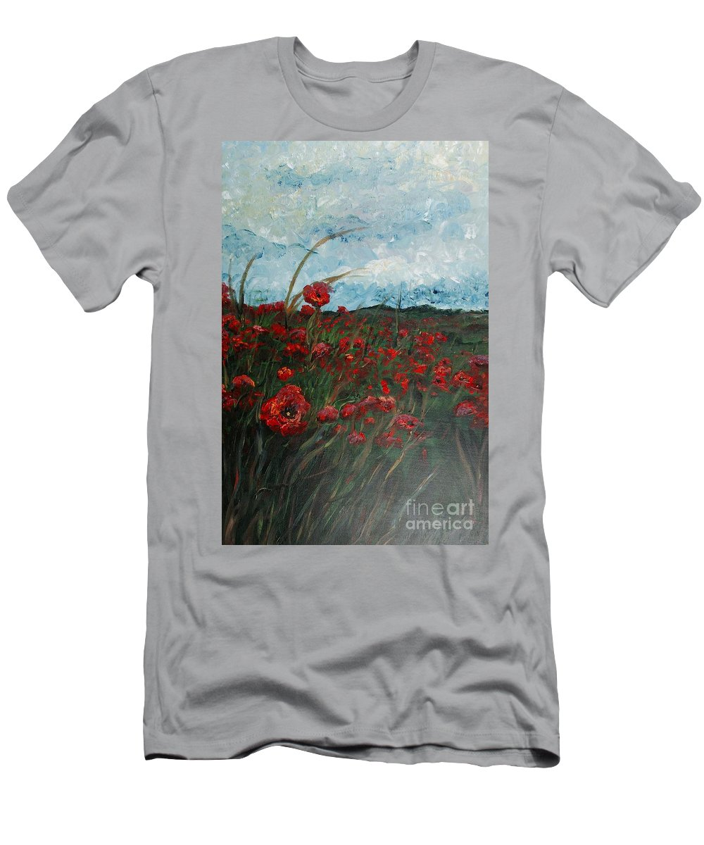 Poppies T-Shirt featuring the painting Stormy Poppies by Nadine Rippelmeyer