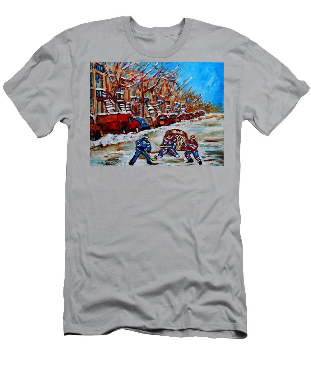 Street Hockey Hotel De Ville Men's T-Shirt (Athletic Fit) featuring the painting Street Hockey Hotel De Ville by Carole Spandau