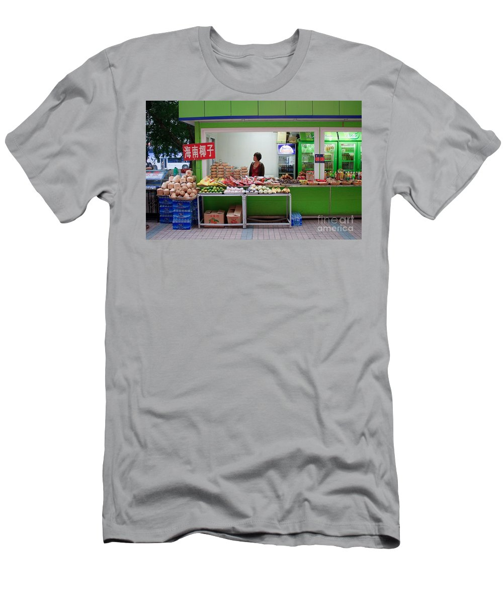 Stand Men's T-Shirt (Athletic Fit) featuring the photograph Street Vendor Beijing by Thomas Marchessault