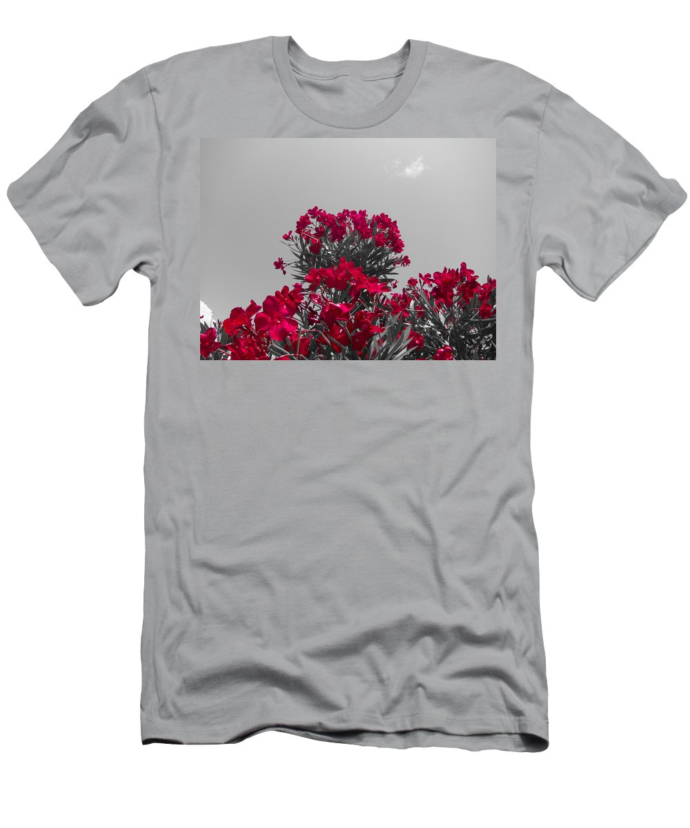 Red Flowers Men's T-Shirt (Athletic Fit) featuring the photograph Striking Red by Douglas Barnard