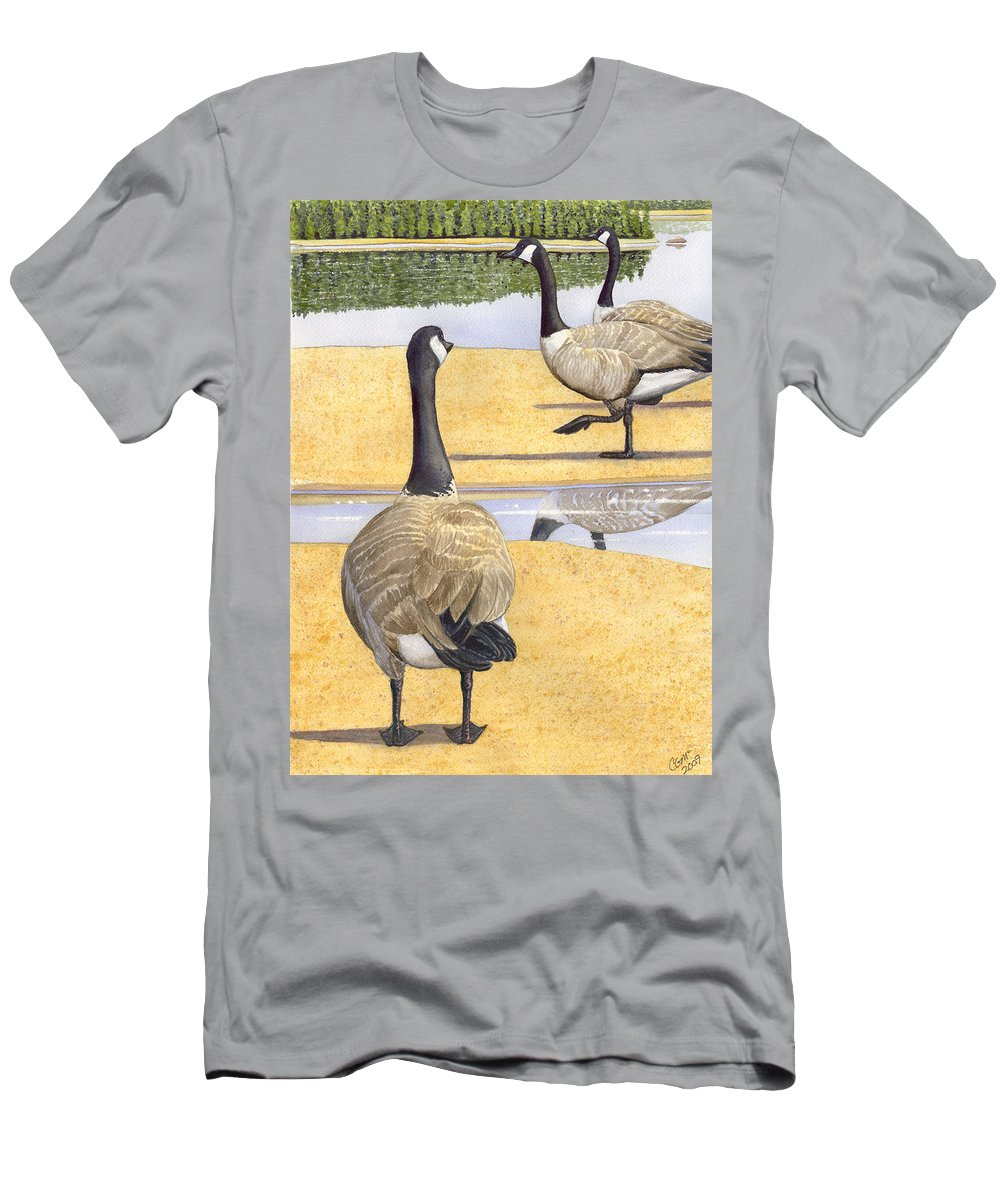 Geese Men's T-Shirt (Athletic Fit) featuring the painting Struttin Thier Stuff by Catherine G McElroy