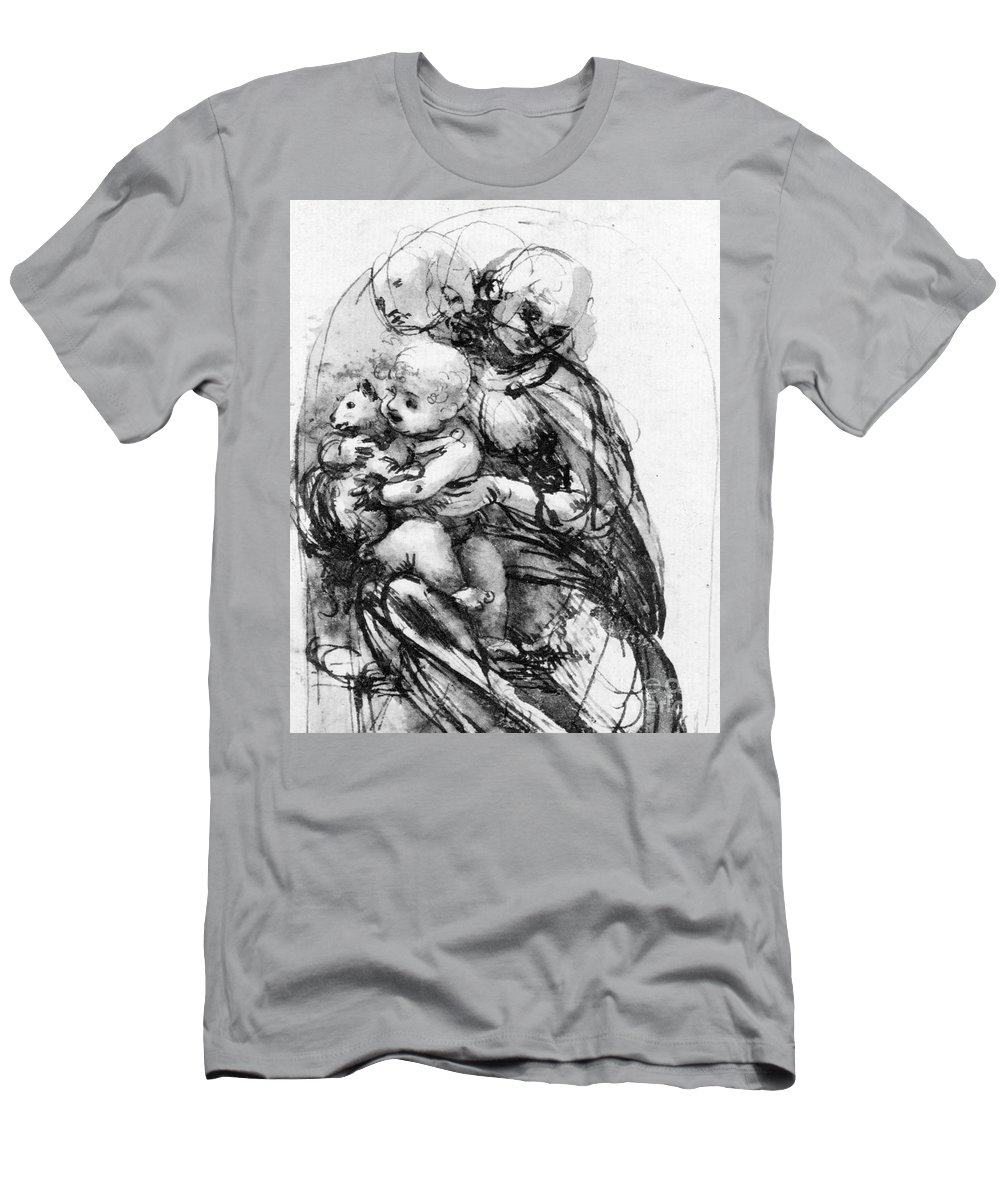 Renaissance Men's T-Shirt (Athletic Fit) featuring the drawing Study For A Madonna With A Cat by Leonardo da Vinci