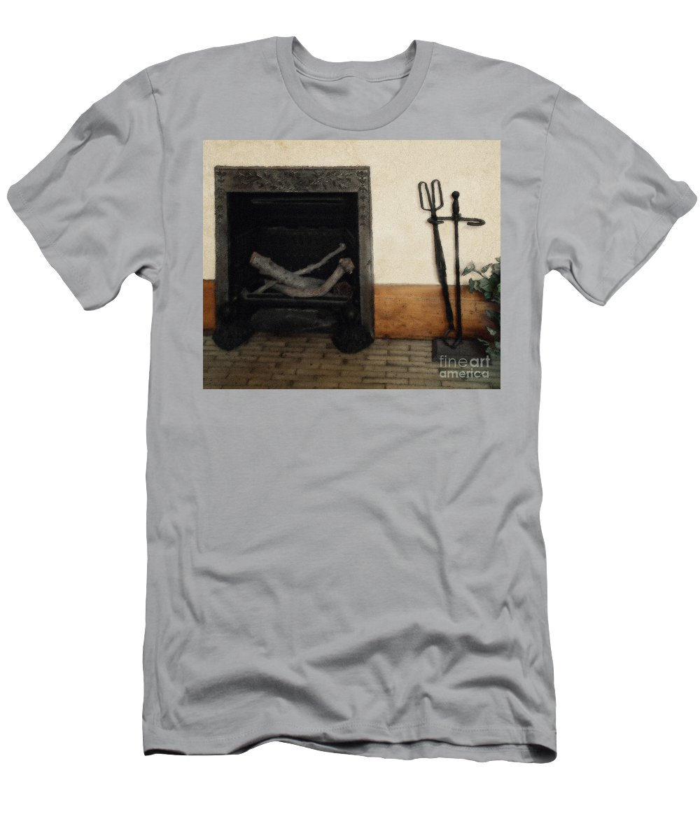 Fireplace Men's T-Shirt (Athletic Fit) featuring the painting Study In Iron, Wood And Stone by RC DeWinter