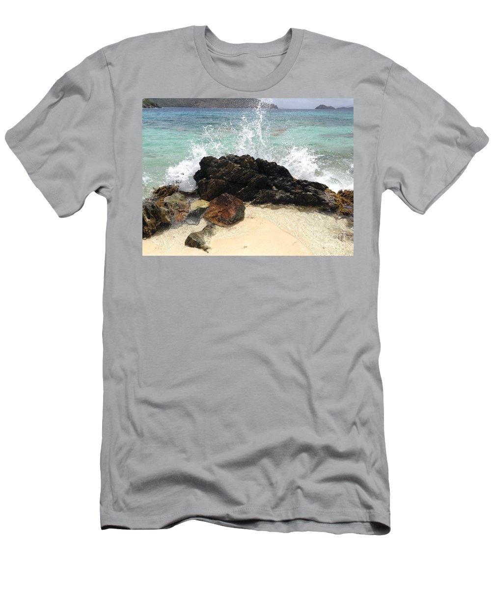 St. Thomas Men's T-Shirt (Athletic Fit) featuring the photograph Sugar Beach Splash by Gina Sullivan