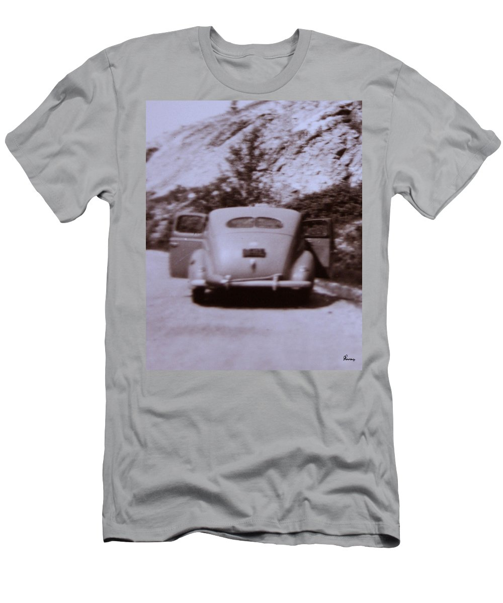Old Cars Suicide Doors Antique Old Photo Car 1950 Automobile Classic Men's T-Shirt (Athletic Fit) featuring the photograph Suicide Doors by Andrea Lawrence