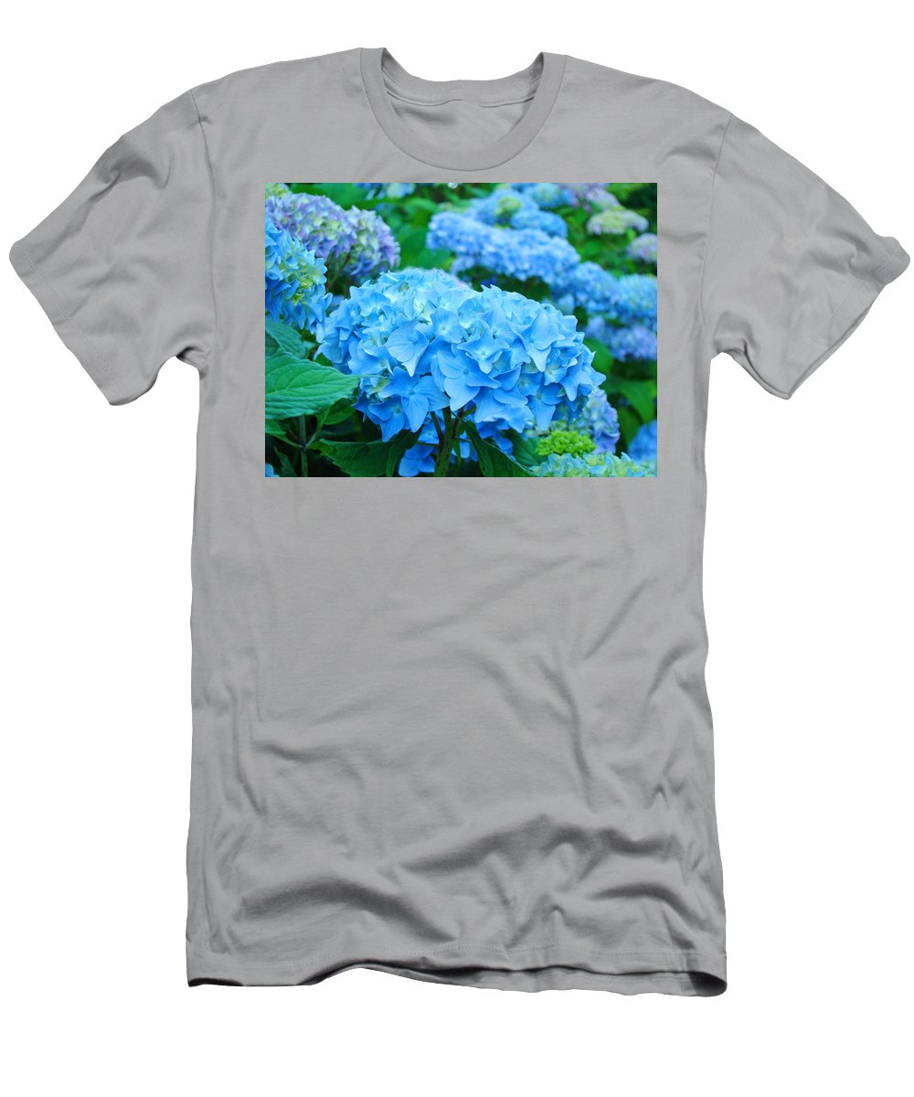 Hydrangea T-Shirt featuring the photograph Summer Garden Blue Hydrangea Flowers art print Baslee by Patti Baslee