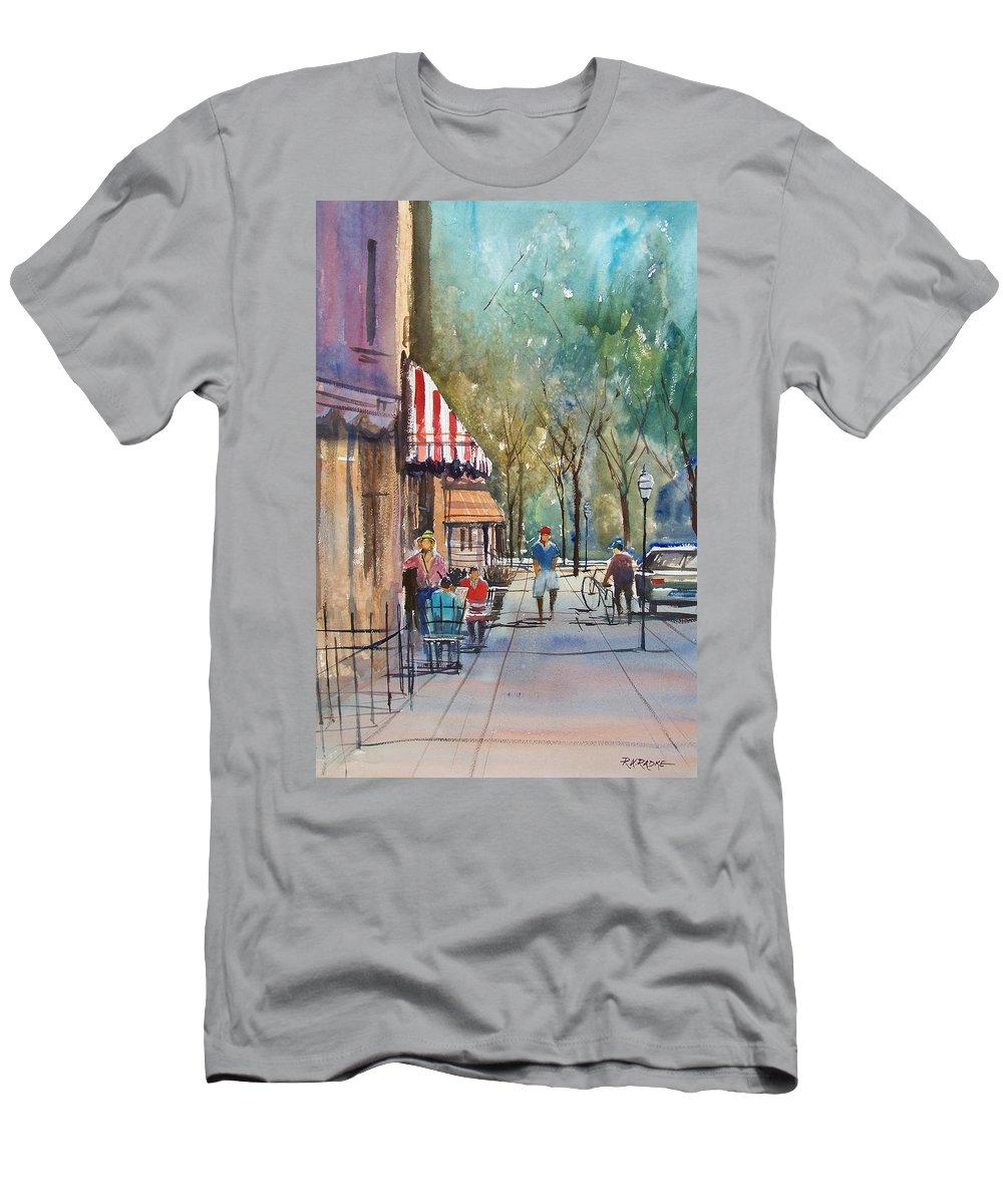 Street Scene Men's T-Shirt (Athletic Fit) featuring the painting Summer In Cedarburg by Ryan Radke