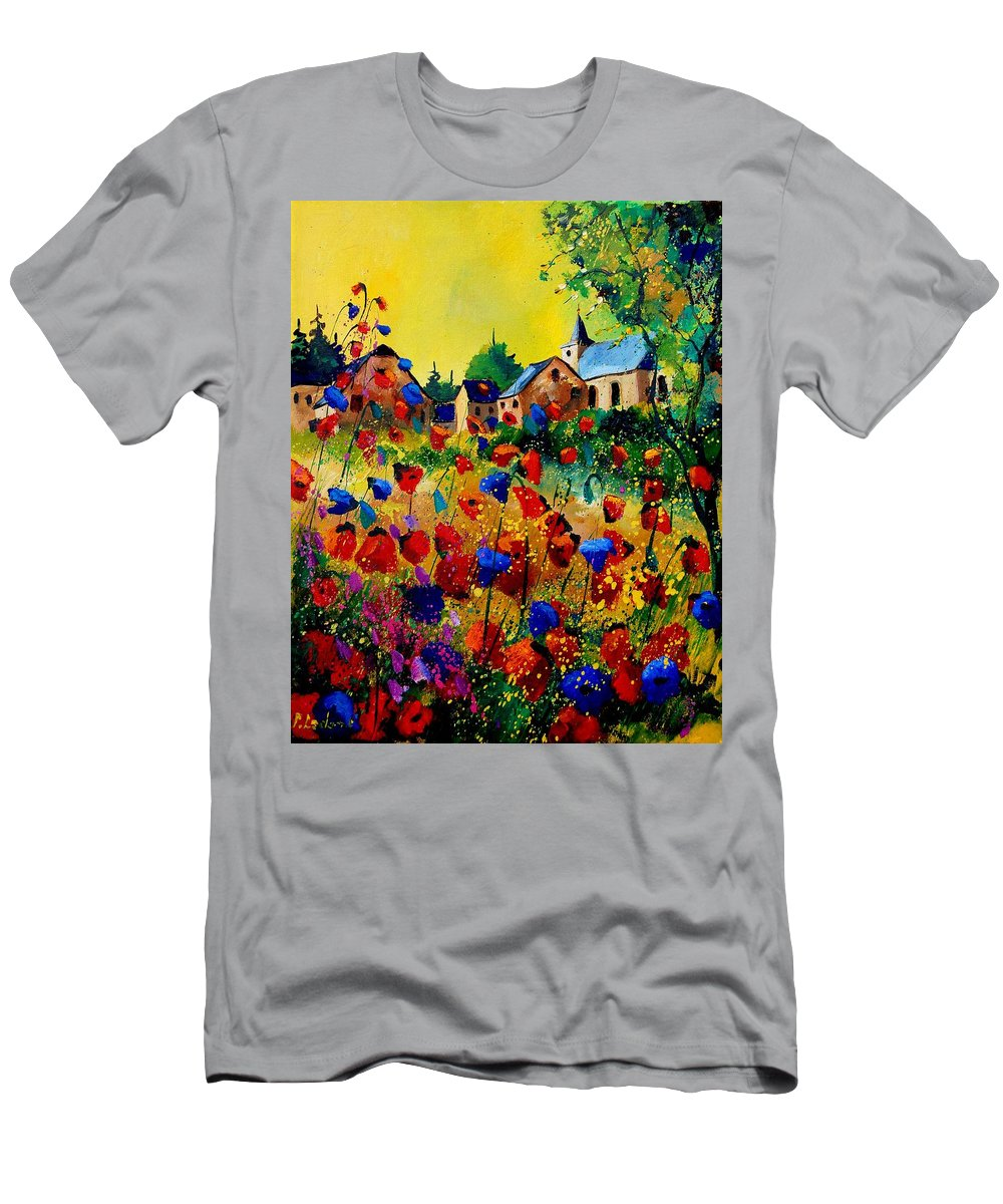 Poppy T-Shirt featuring the painting Summer in Sosoye by Pol Ledent
