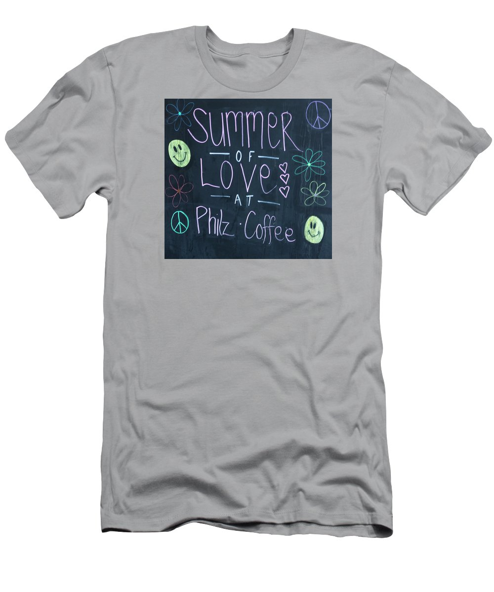 Photograph Men's T-Shirt (Athletic Fit) featuring the photograph Summer Of Love At Philz Coffee by Suzanne Gaff