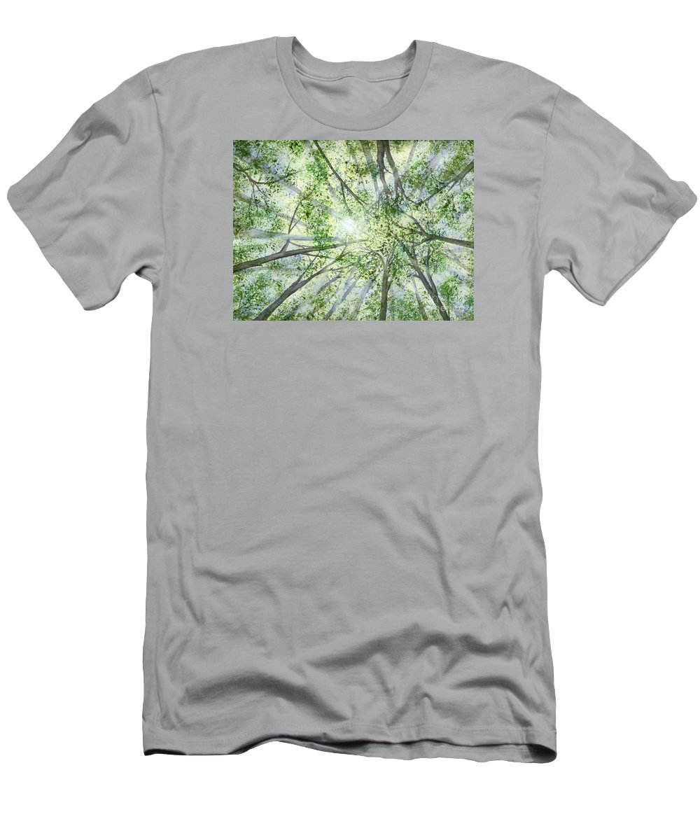 Trees Men's T-Shirt (Athletic Fit) featuring the painting Summer Rays by Lynn Quinn