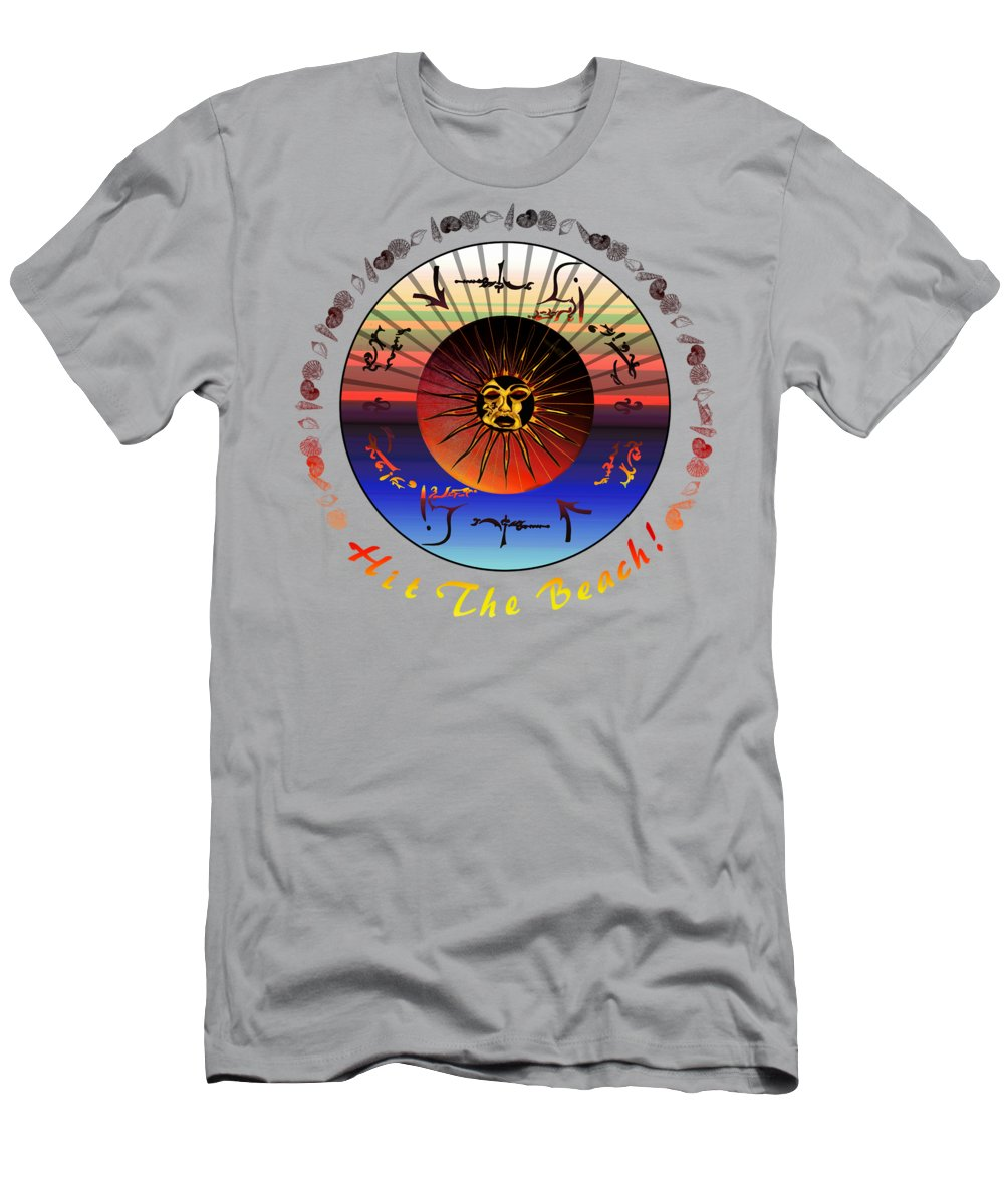 Robert Kernodle Beach Towels Men's T-Shirt (Athletic Fit) featuring the drawing Sun Face Stylized by Robert G Kernodle