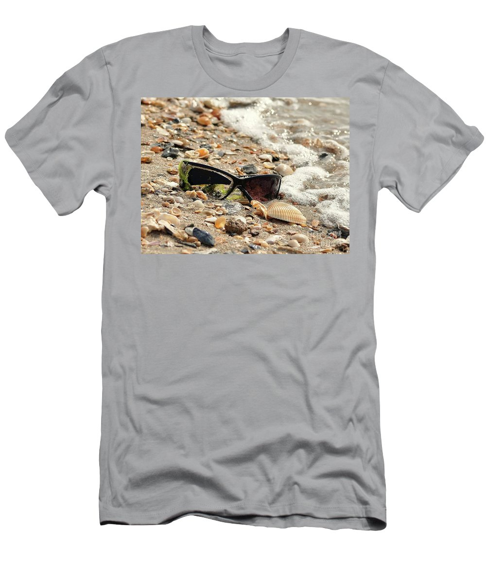 Beach Men's T-Shirt (Athletic Fit) featuring the photograph Sun Shades And Sea Shells by Al Powell Photography USA
