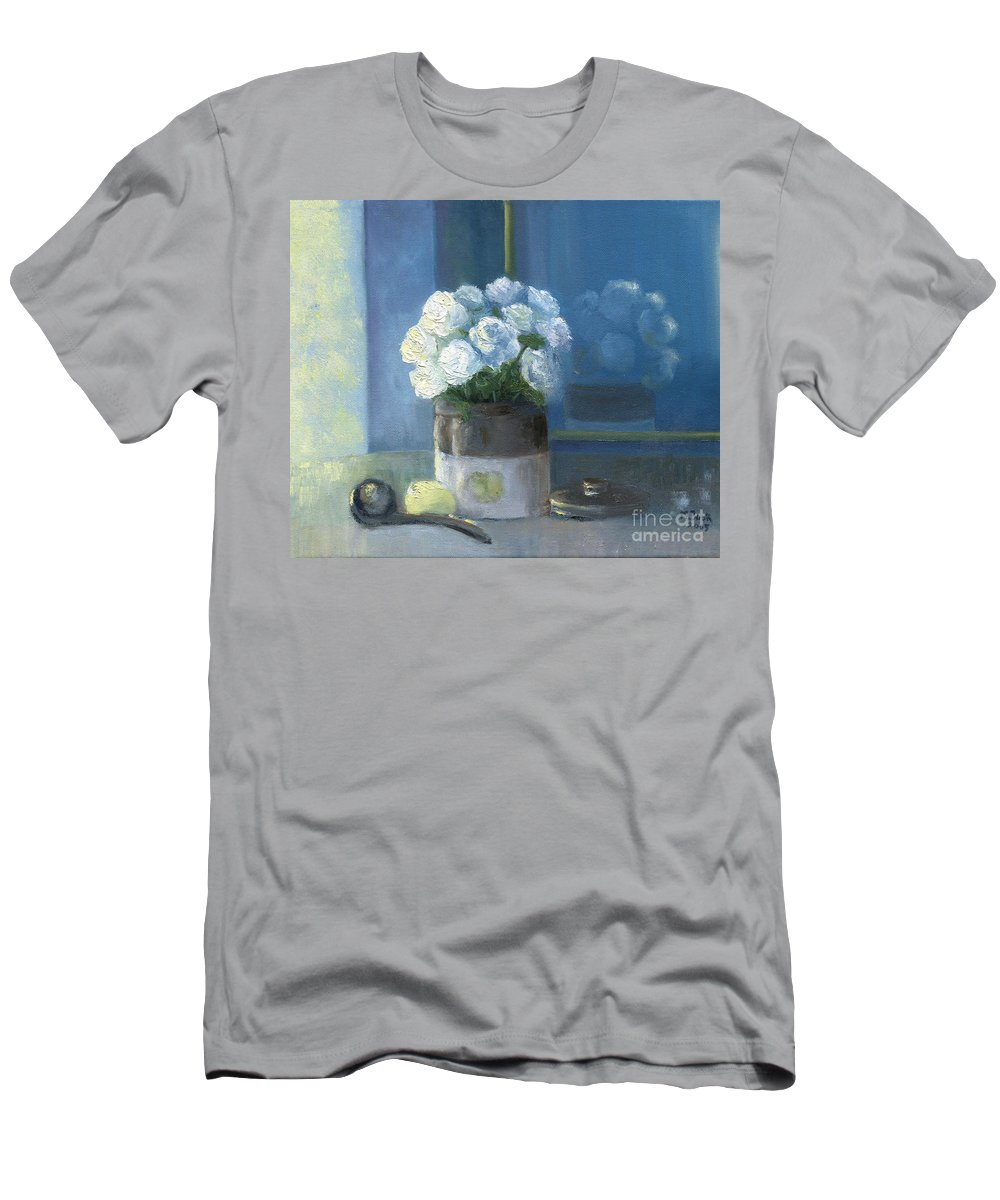Still Life Men's T-Shirt (Athletic Fit) featuring the painting Sunday Morning And Roses - Blue by Marlene Book
