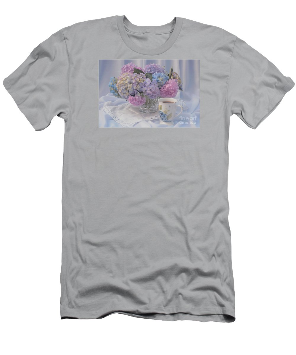 Hydrangea Flowers Men's T-Shirt (Athletic Fit) featuring the photograph Sunday Morning by Luv Photography
