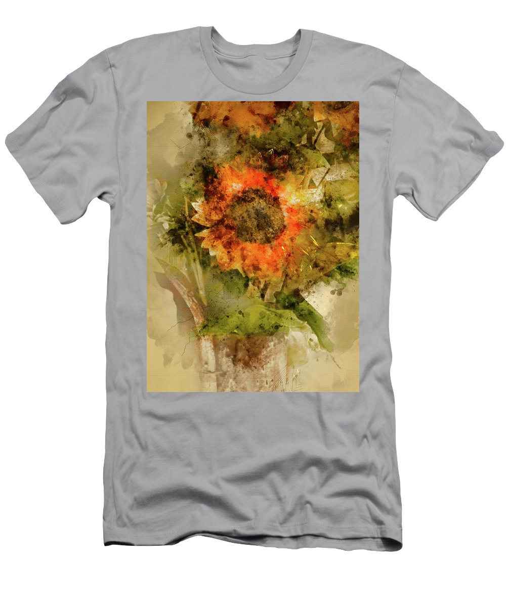 Vertical Men's T-Shirt (Athletic Fit) featuring the digital art Sunflower Abstract by Robert Meyerson