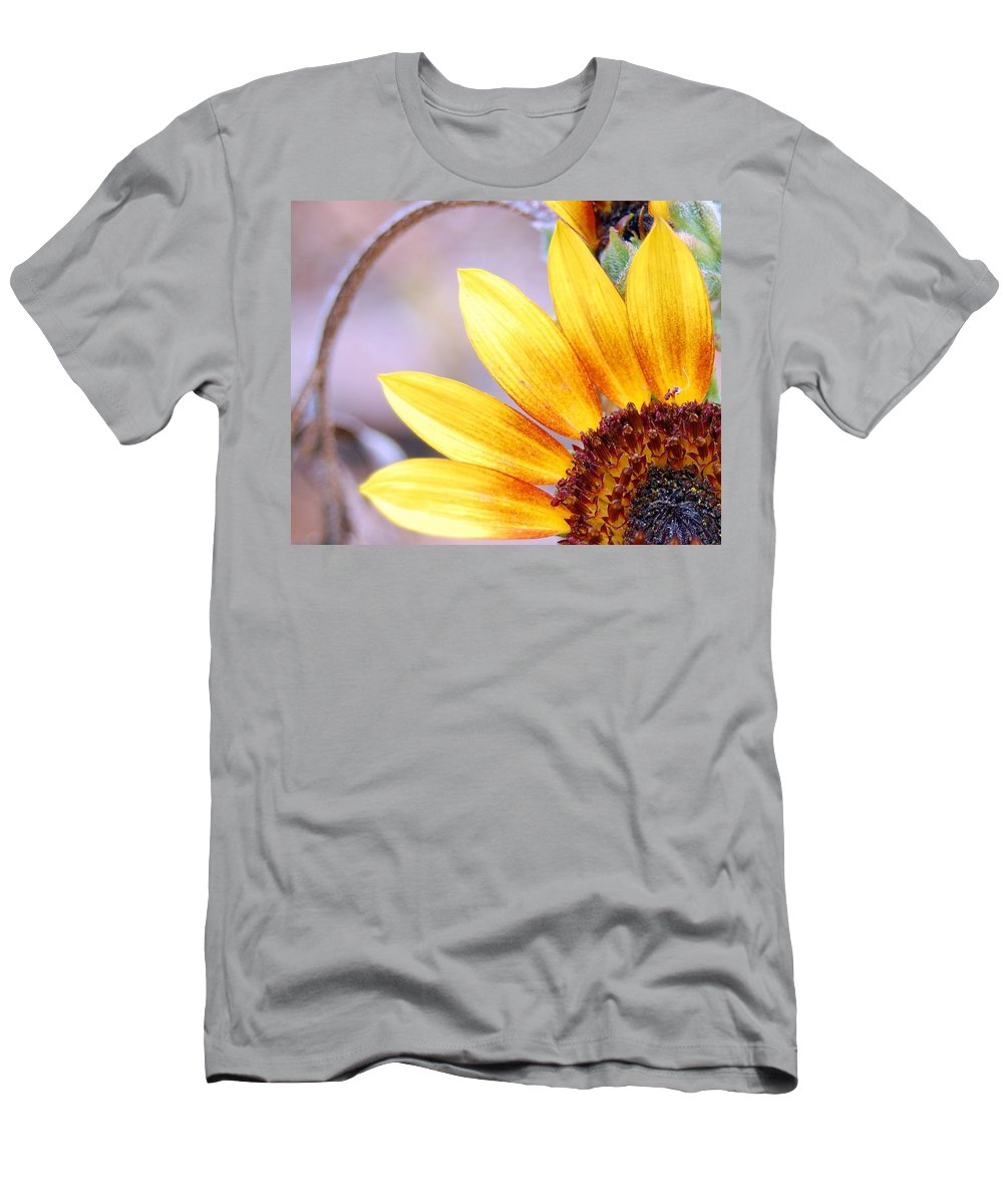 Sunflower Men's T-Shirt (Athletic Fit) featuring the photograph Sunflower Perspective by Amy Fose