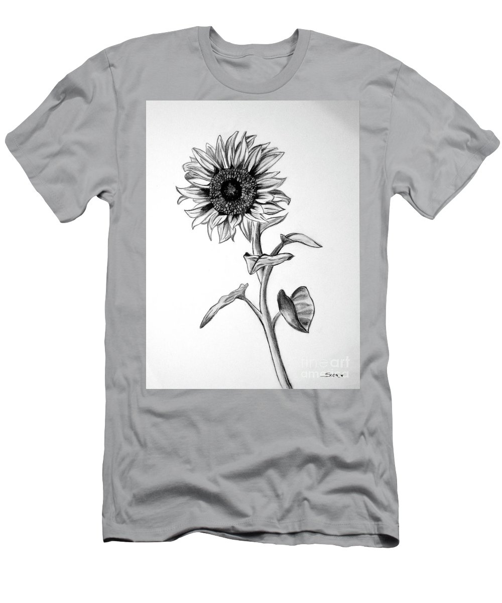 Sunflower Men's T-Shirt (Athletic Fit) featuring the drawing Sunflower by Sara Matthews