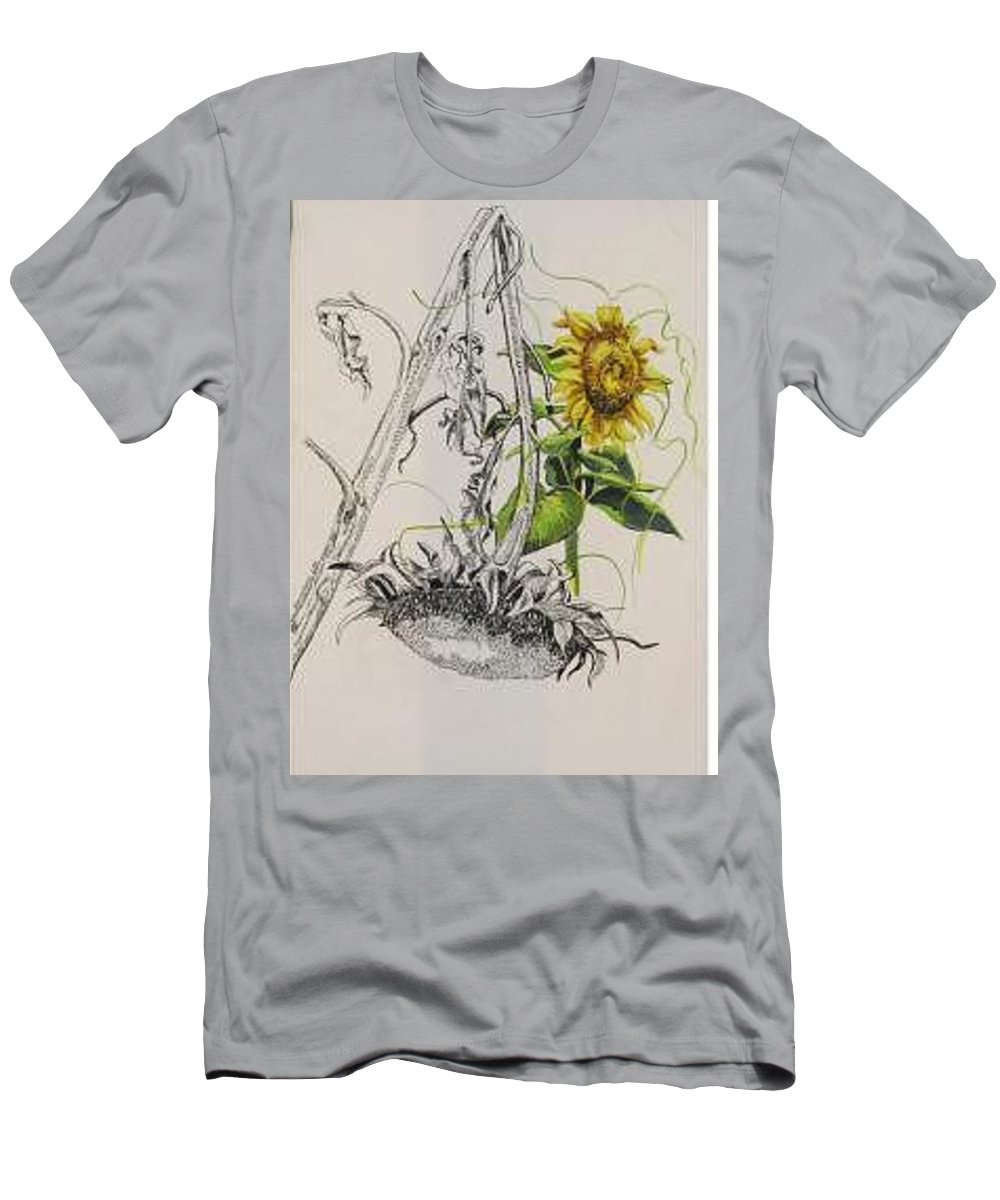 Large Sunflowers Featured Men's T-Shirt (Athletic Fit) featuring the painting Sunflowers by Wanda Dansereau