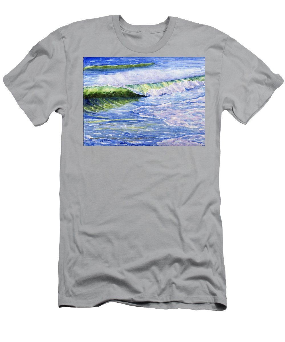Seascape T-Shirt featuring the painting Sunlit Surf by Sharon E Allen