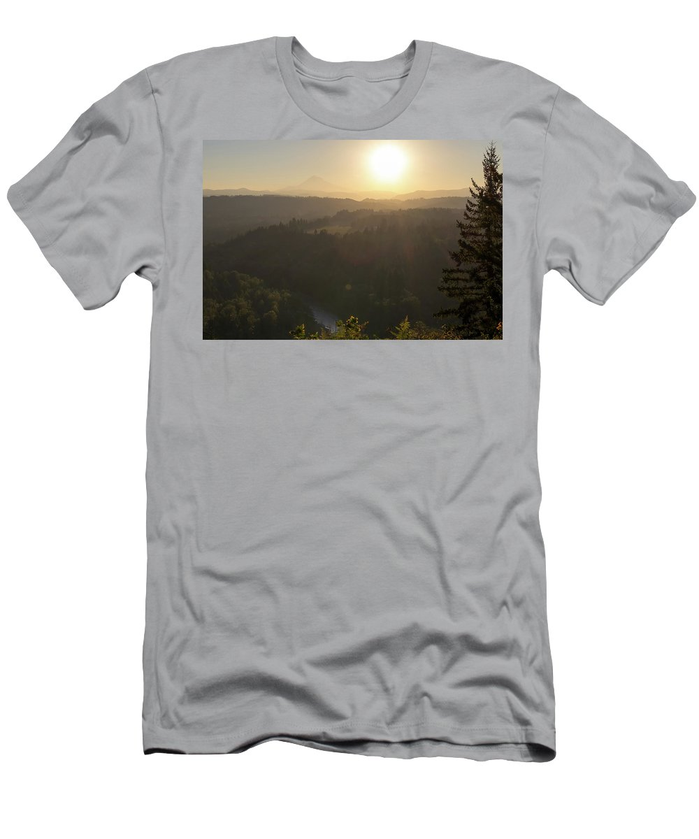 Sunrise Men's T-Shirt (Athletic Fit) featuring the photograph Sunrise Over Mount Hood And Sandy River by David Gn