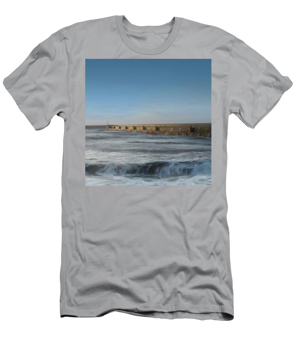 Seascape Men's T-Shirt (Athletic Fit) featuring the photograph Sunrise Shoreham by Sharon Knightly
