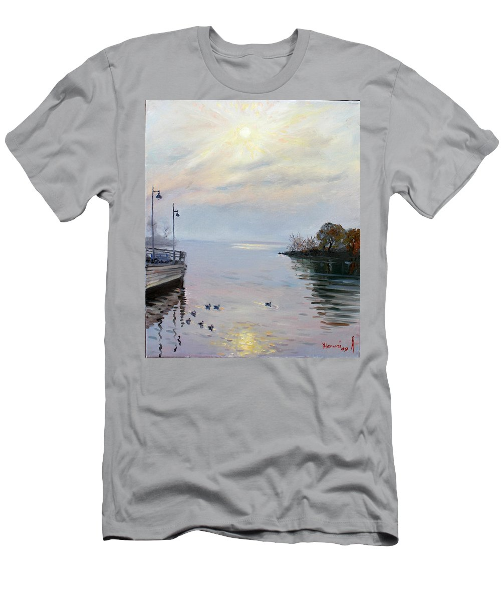 Seascape Men's T-Shirt (Athletic Fit) featuring the painting Sunrise by Ylli Haruni