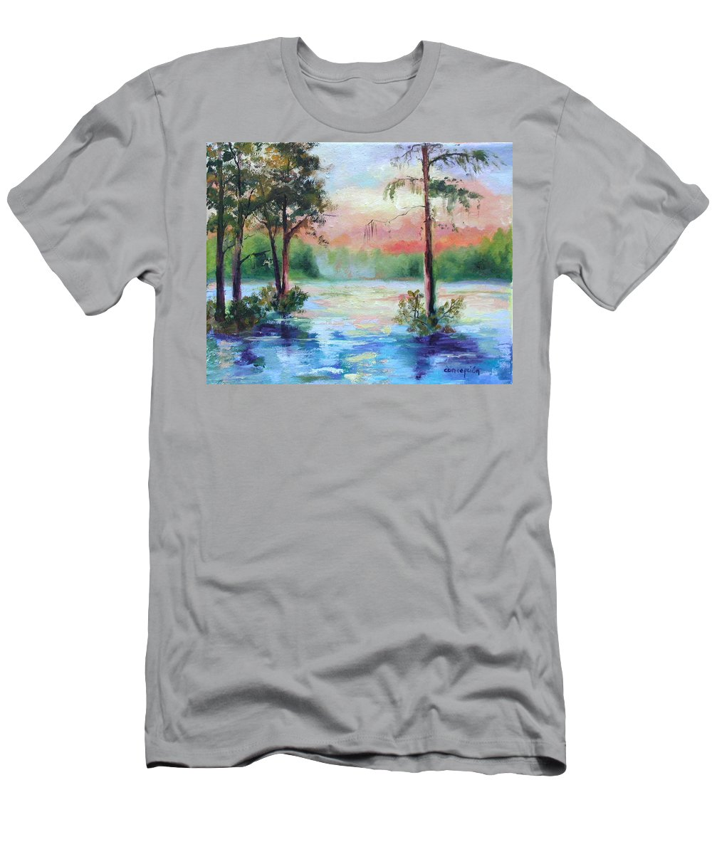 Sunset Men's T-Shirt (Athletic Fit) featuring the painting Sunset Bayou by Ginger Concepcion
