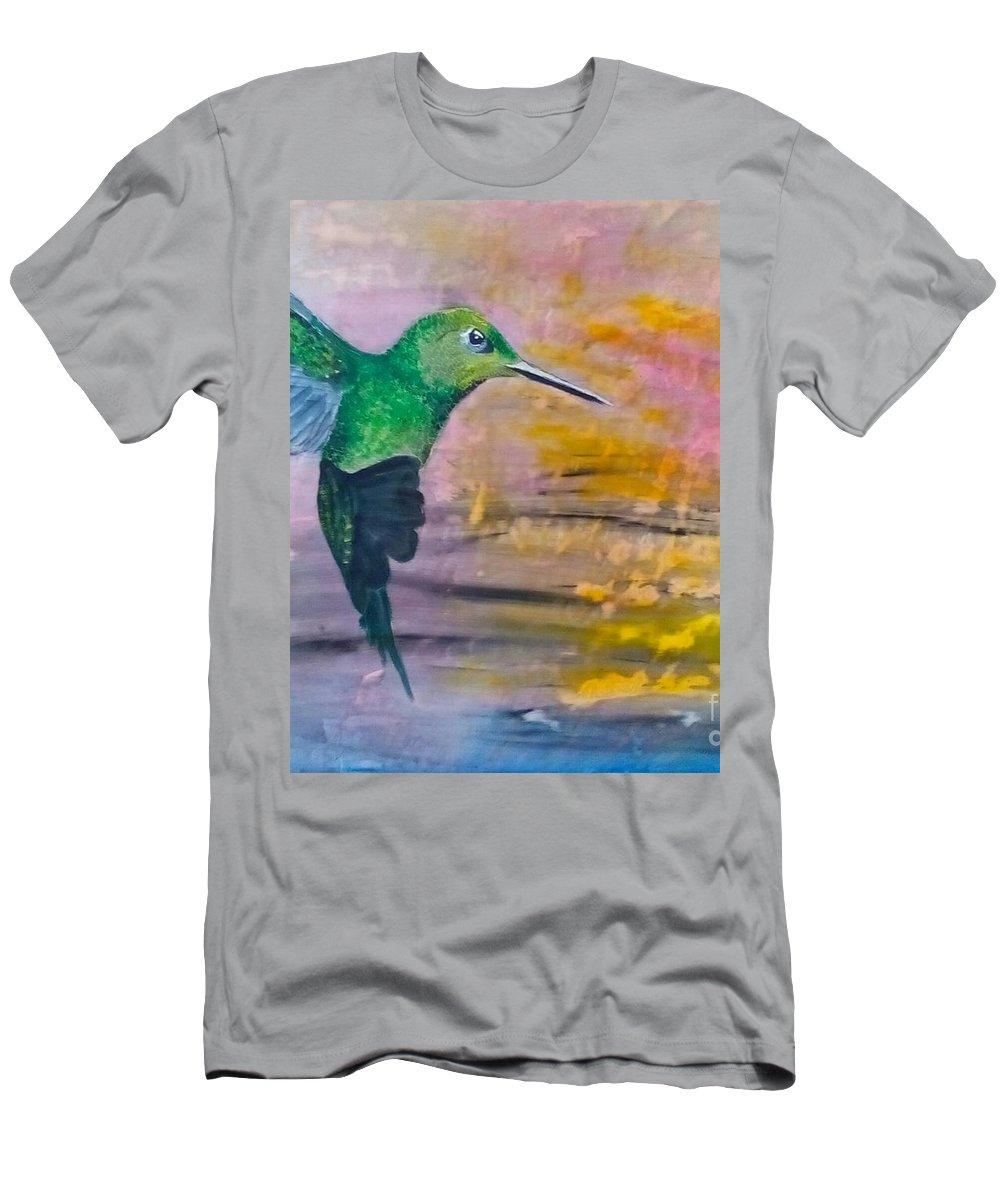 Hummingbird T-Shirt featuring the painting Sunset Dancer by J Bauer