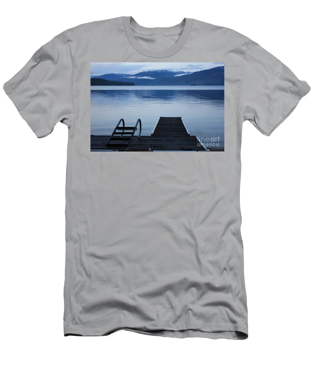 Priest Lake Men's T-Shirt (Athletic Fit) featuring the photograph Sunset Dock At Priest Lake by Carol Groenen