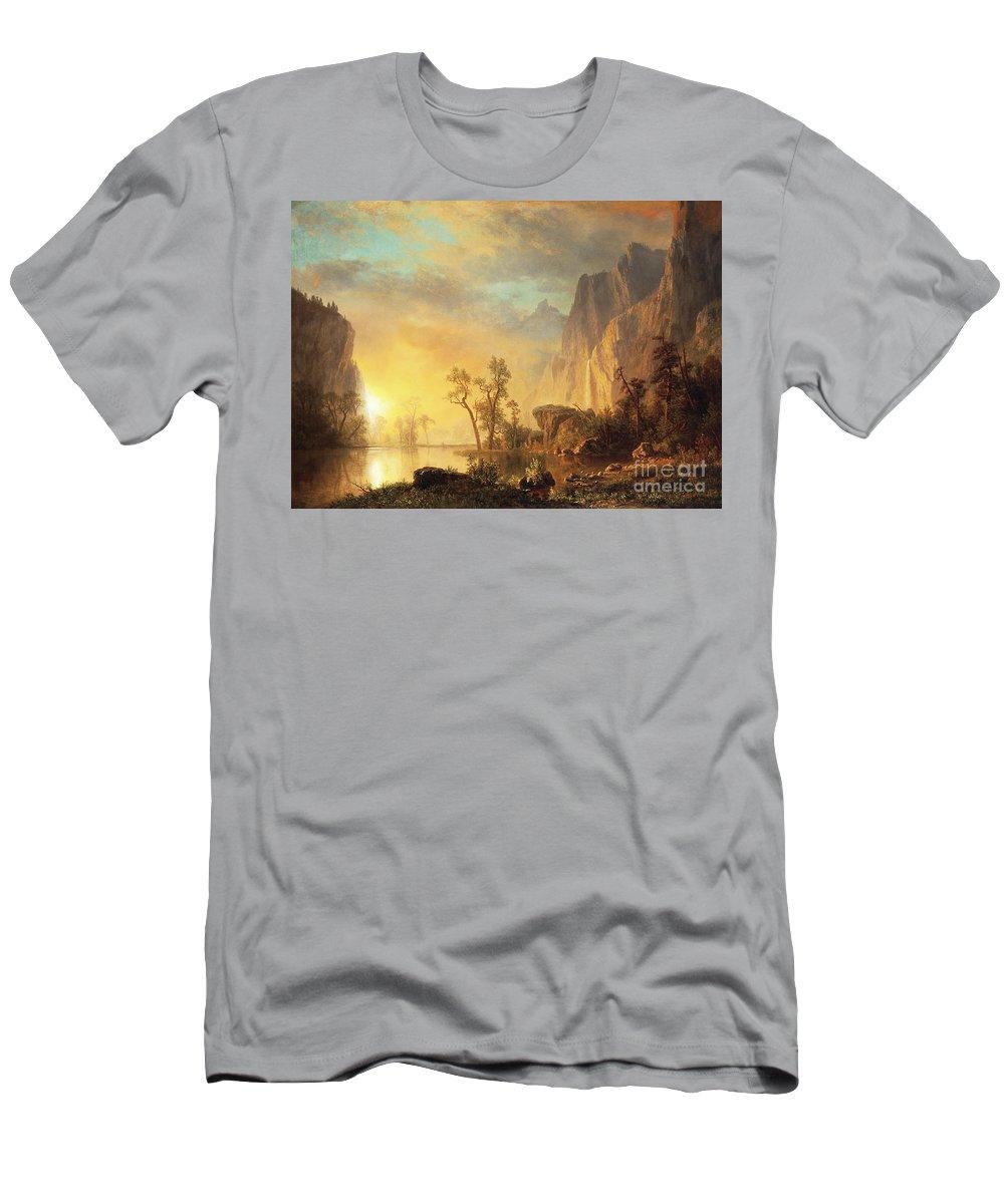 Bierstadt T-Shirt featuring the painting Sunset in the Rockies by Albert Bierstadt