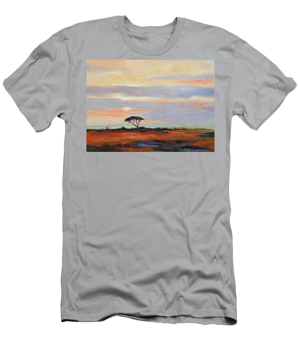 Landscape Men's T-Shirt (Athletic Fit) featuring the painting Sunset On The Serengheti by Ginger Concepcion