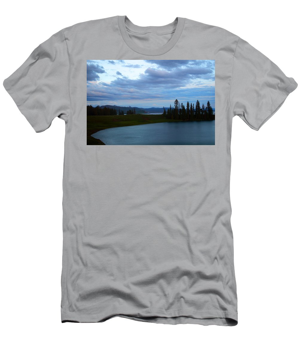 Clouds Men's T-Shirt (Athletic Fit) featuring the photograph Sunset Out West by Linda Kerkau