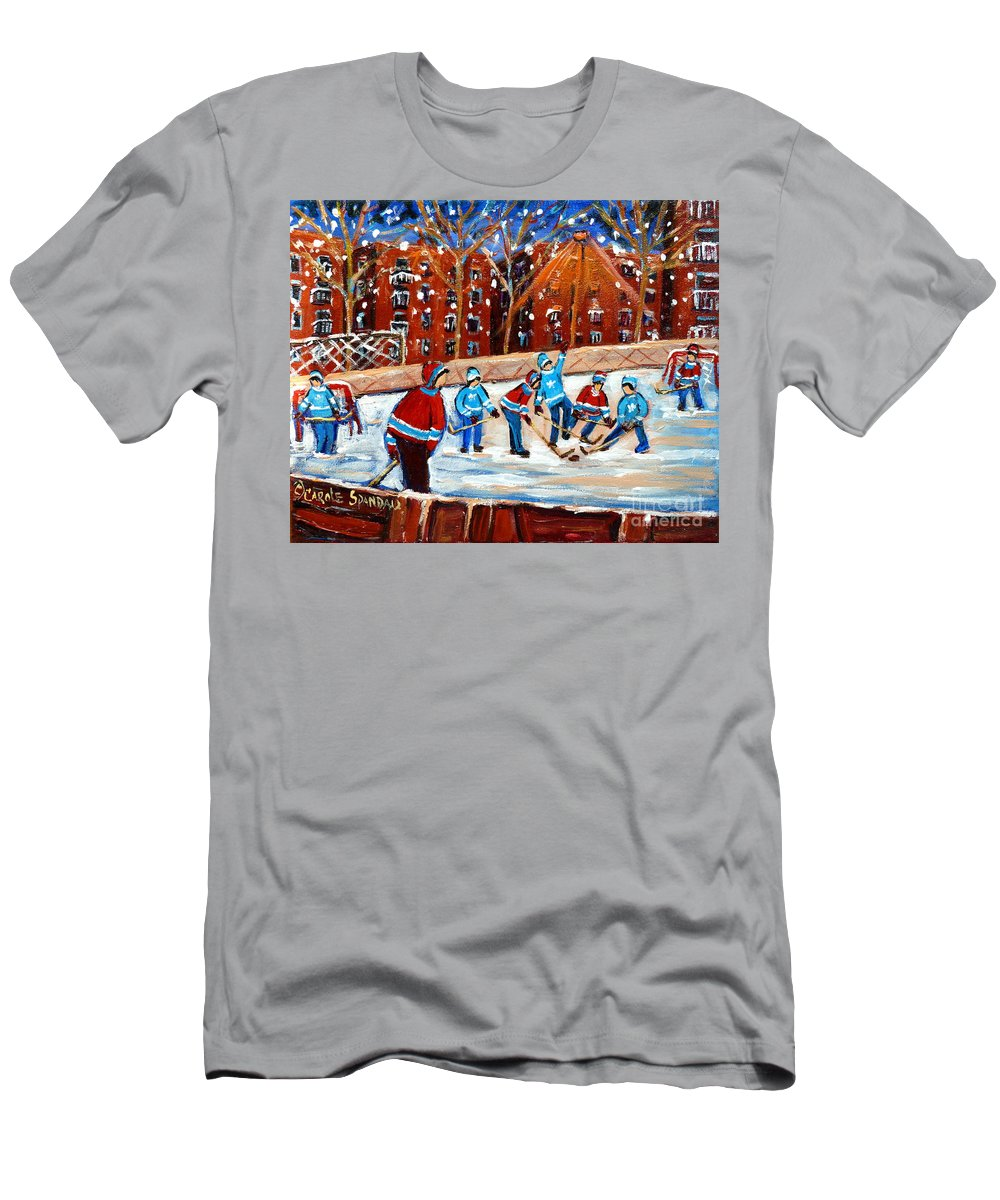 Kids Playing Hockey Men's T-Shirt (Athletic Fit) featuring the painting Sunsetting On My Street by Carole Spandau