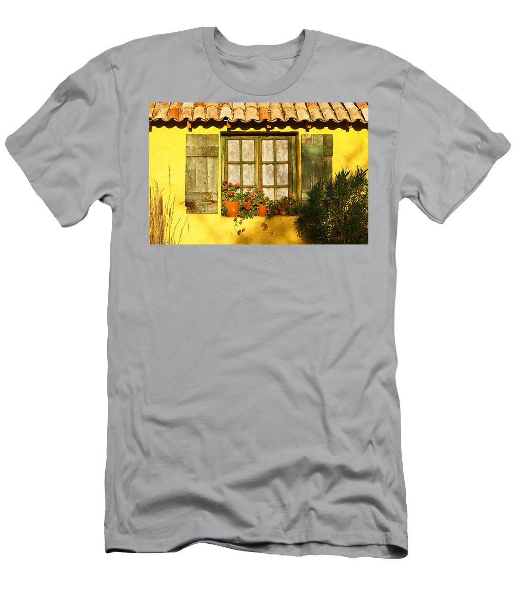 Window Men's T-Shirt (Athletic Fit) featuring the photograph Sunshine And Shutters by Bel Menpes
